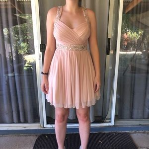 Pale rose pink short prom dress.